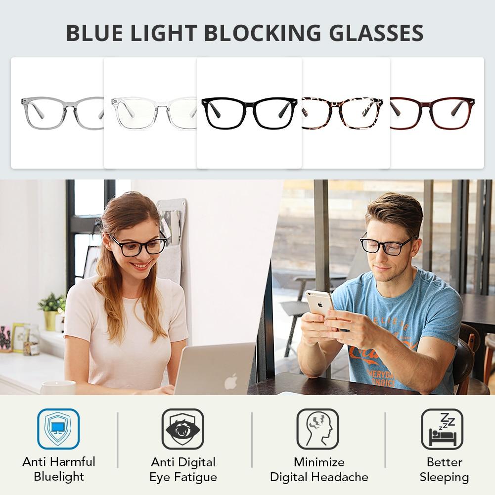 Person - Cyxus Blue Light Blocking Computer Glasses Anti UV Fatigue Headache Eyeglasses Clear Lens Gaming Eyewear for Men and Women