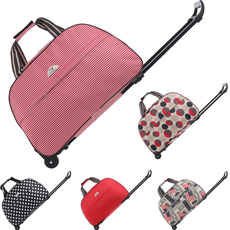 Travel Bag On Wheels Large Capactiy Women's Trolley Bag Hand Luggage Bag Travel Trolley With Wheels Print Weekend Travel Bags