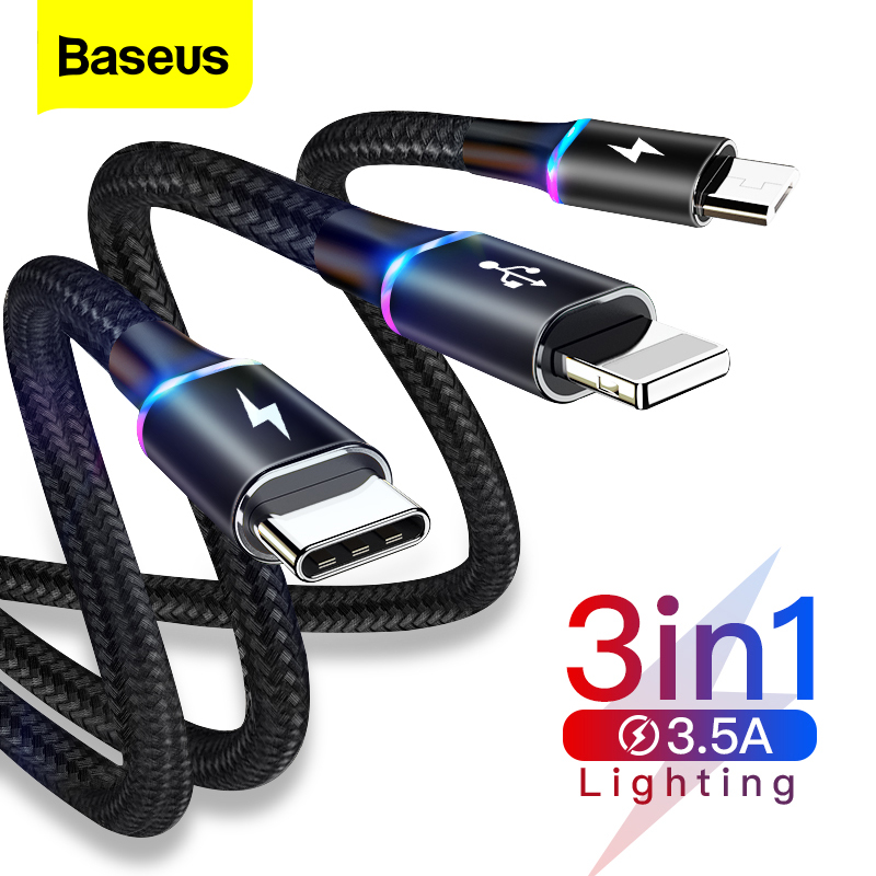 Baseus 3 In 1 USB Cable For IPhone LED 3in1 Multi Micro USB Type C Cable For Samsung S10 Mobile Phone Fast Charging Charger Cord