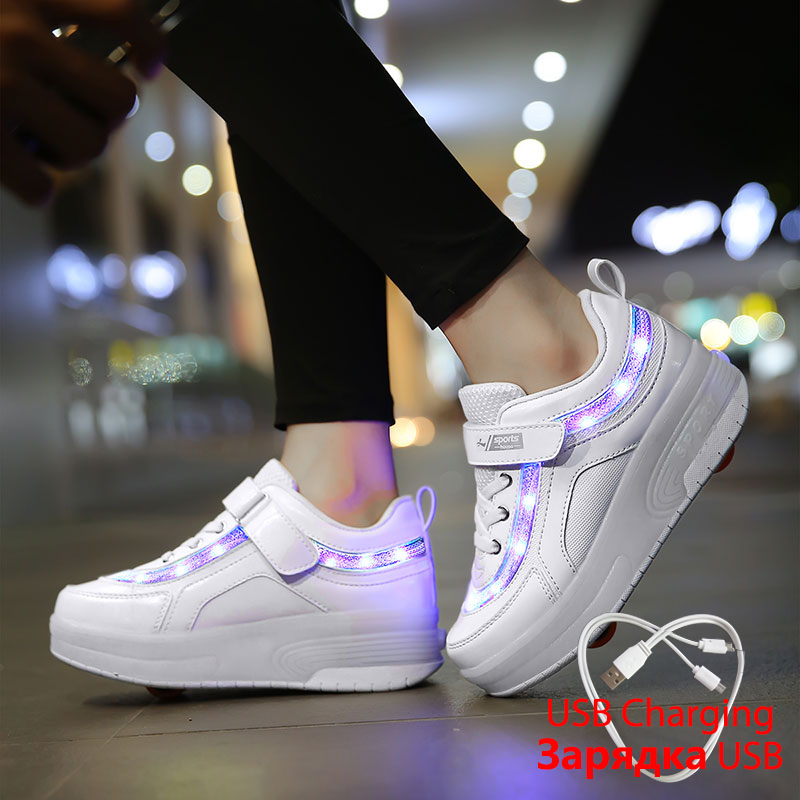 White Sneakers On Wheels Children Glowing Sneakers With Light LED Luminous Casual Shoes With Flashing Surface For Boys