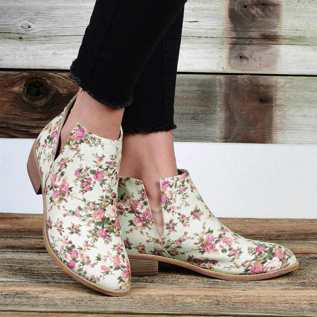 Kadın büyük boy çiçek çiçek baskı Ayakkabı Çiçek Kalın Ayak Bileği Kısa PU Çizmeler Bootie Ayakkabı Chaussures Femme Bayanlar Güz çizmeler