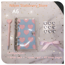 6 Ring Binder Notebook A6 Korean Cute Love Cover Loose Diary Translucent Planner Bullet Journal lovely TN Book Stationery School