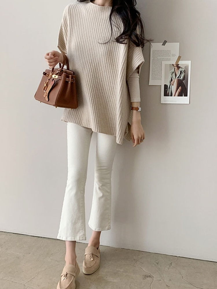 Sweater Fall-Clothes Winter Fashion Short-Sleeved Women Cloak Knitted Loose Split Korean-Version