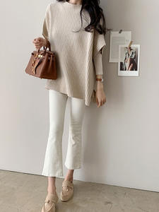 Women Cloak Sweater Fall-Clothes Loose Split Korean-Version Short-Sleeved Knitted Casual