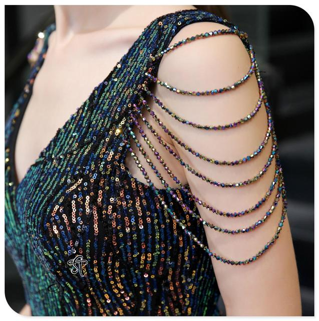 S.T.DES Evening Dress 2020 New Arrival colorful Beading Mermaid V-Neck colorful Sleeveless Floor Length Party Dress Dinner Gowns 5