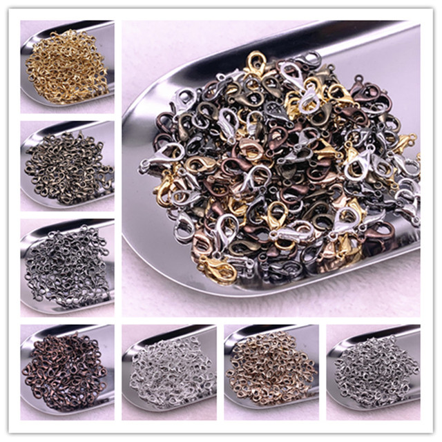20pcs 10/12/14mm Jewelry Making Loose Lobster Clasp Claw for Jewelry Making DIY Necklace Bracelet Accessories