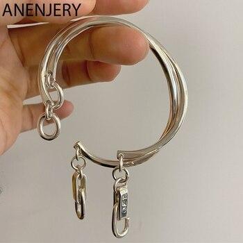 ANENJERY-pulsera de plata de ley 925 para mujer, brazalete de plata tailandesa con gancho de bloqueo, cadena gruesa, nuevos estilos S-B468