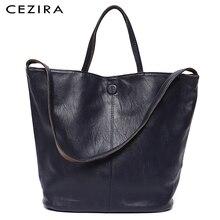 CEZIRA Vegan deri rahat moda kadın büyük el çantası çanta iki renk geri dönüşümlü bayanlar yumuşak büyük omuz ve Crossbody çanta kadın Hobo