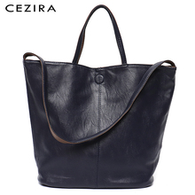 Cezia 비건 가죽 캐주얼 패션 여성 토트 핸드백 2 색 가역 숙녀 부드러운 대형 어깨 & Crossbody 가방 여성 호보
