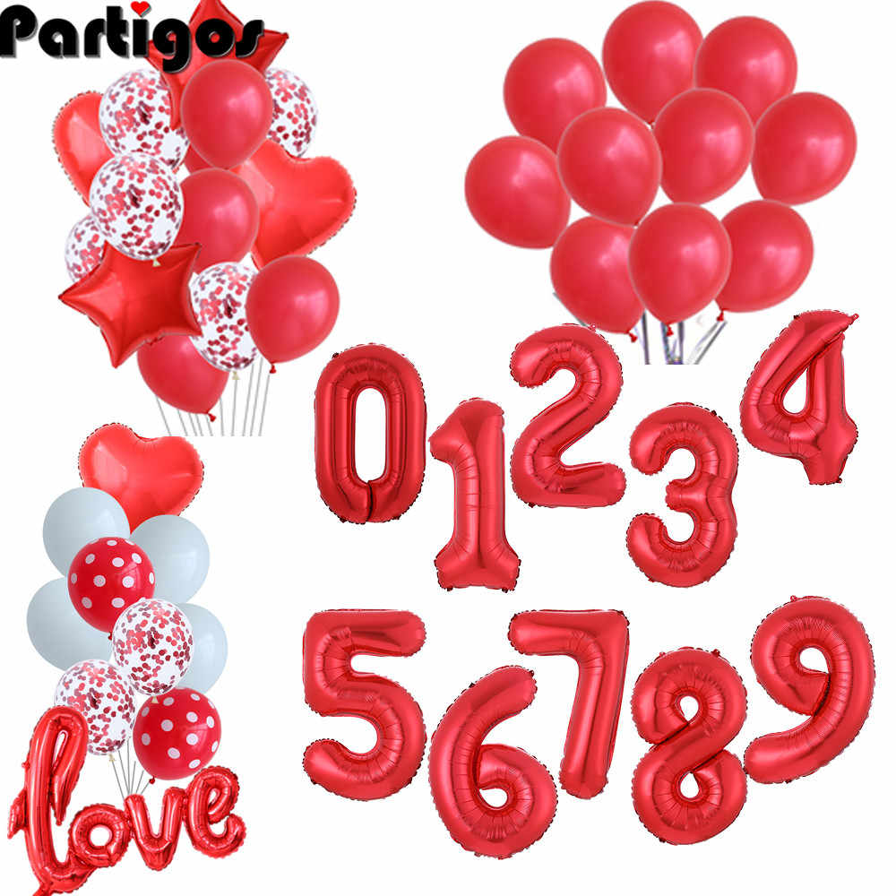 0 to 9 Large Numbers Crown Foil Balloons Column Birthday Party Decoration Kit