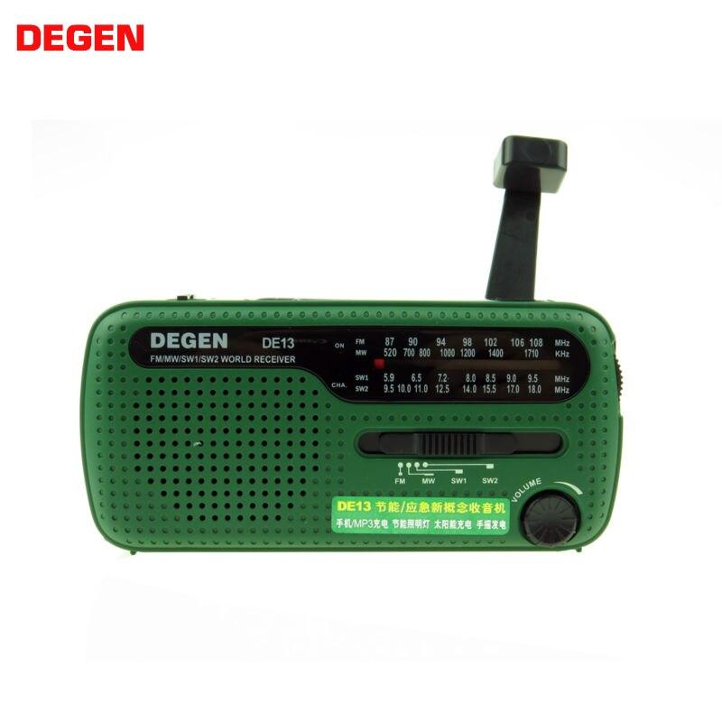 DEGEN DE13 Flashlight Cranker FM AM SW Dynamo Solar Power Supply Emergency Radio A0798A World Receiver