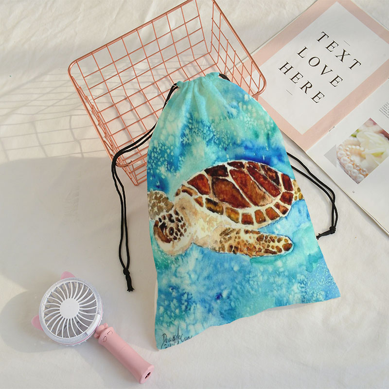 Sea Turtle Printing The Speed Pocket Travel Shoulder Bag Mochila Men GYM Sack Drawstring Bag Support Wholesale Customize