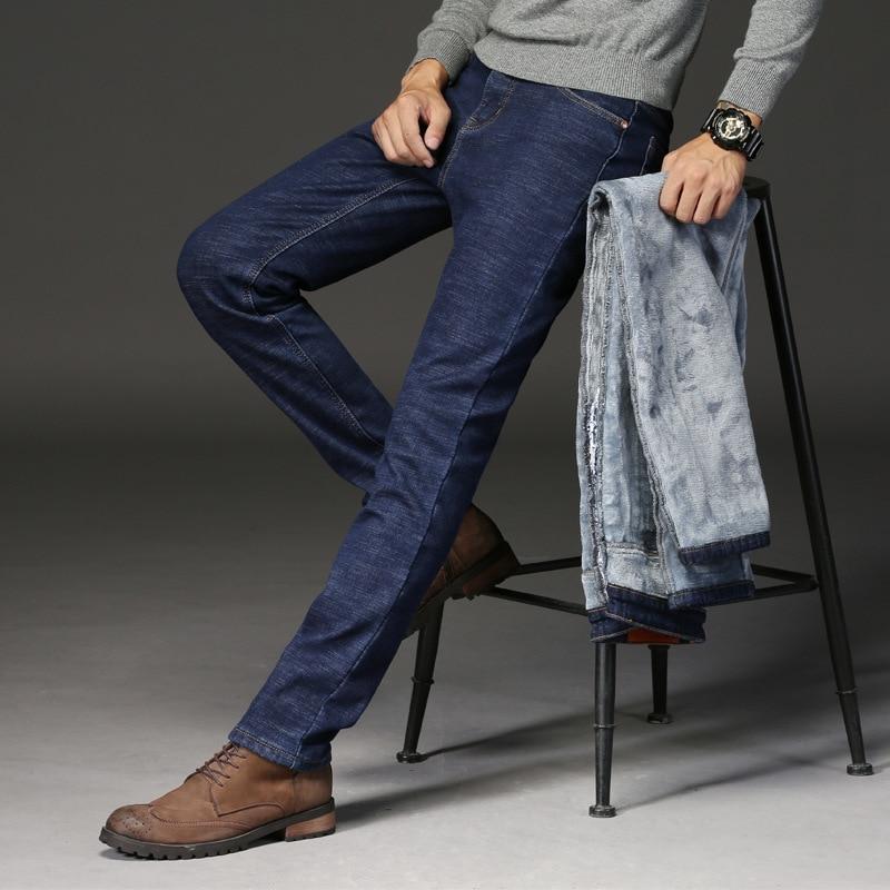 Autumn And Winter MEN'S Jeans Korean-style Straight-Leg Trousers Youth Elasticity Pants Men's Casual Pants Plus Velvet Warm