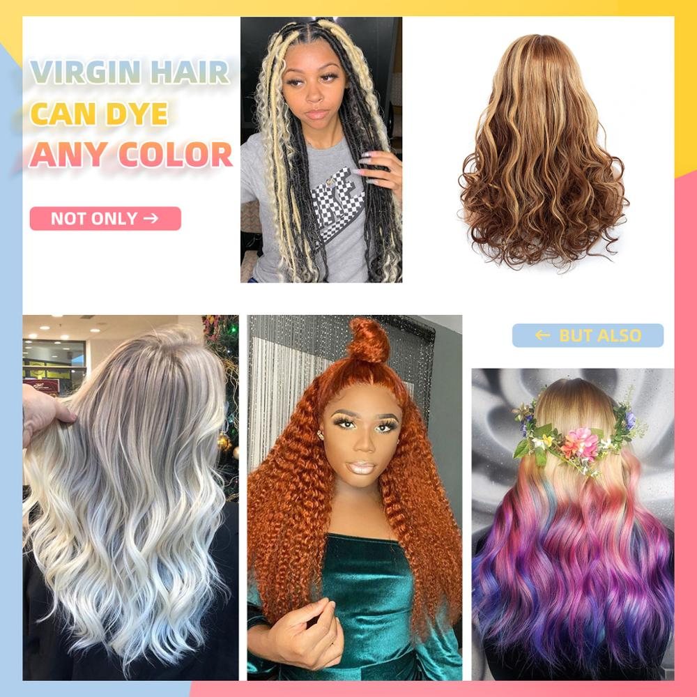 Ombre Lace Front Human Hair Wigs Colored Wavy 100% Brazilian Virgin Hair Lace Front Wig 150% Pre Plucked For Women WoWEbony Wig