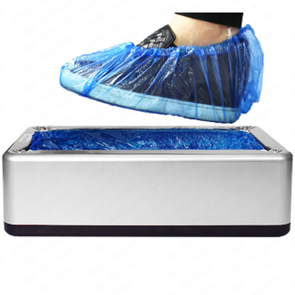 Sliver Automatic Shoe Cover Dispenser with 400Pc Disposable Plastic Boot Shoe Cover for Medical Home