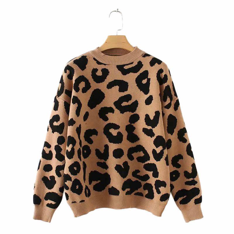 Del Leopardo Delle Donne Ha Lavorato a Maglia Maglione di Inverno Animale di Inverno di Stampa di Spessore Manica Lunga Donna Pullover Casual Magliette E Camicette