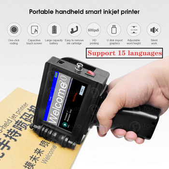 Smart Portable Handheld Inkjet Printer Quick-drying 600DPI Label Print Machine, Touch Screen for Date LOGO Barcode QR Code Print portable hand jet handheld touch inkjet printer for logo expiry date batch code serial number label barcode qr code