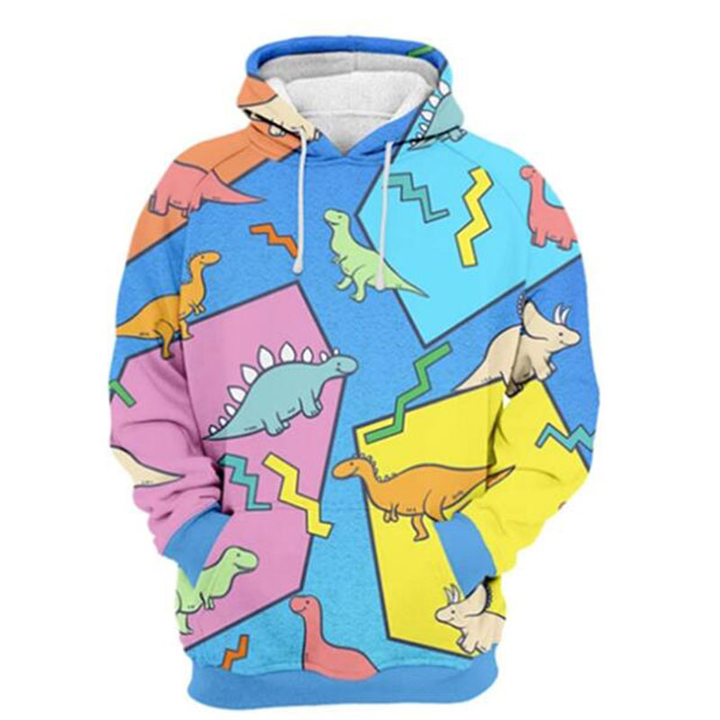 MODAVELOCE Dino Hoodie Polyester With Wool Sweatshirt Men Hooded Anime's Halloween Hoodie Cotton