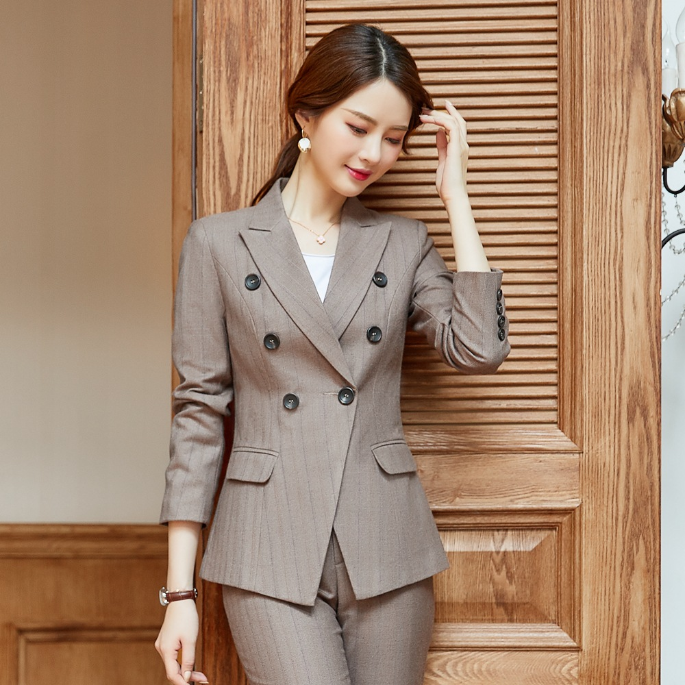 Business Woman Suit  Full Sleeve Double Breasted Blazer Long Trousers 2 Piece Ensemble Blaser Femme Pant Suit Ladies Suit ow0526