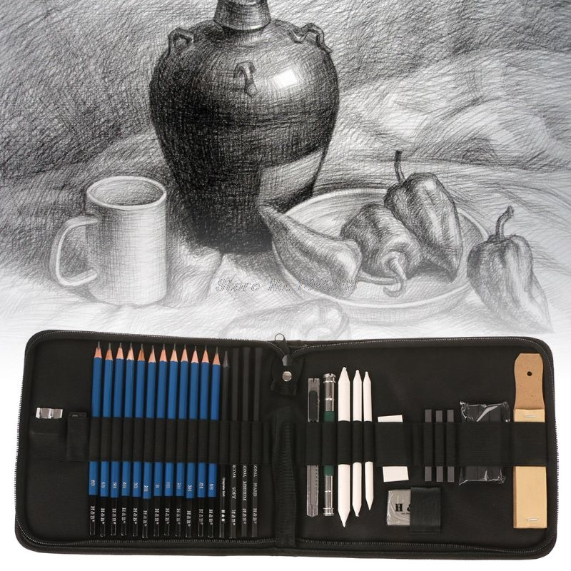 32Pcs Professional Drawing Artist Kit Pencils Sketch Charcoal Art Craft With Carrying Bag Tools For Student Art Supplies Whosale
