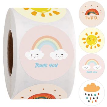 500 sztuk okrągłe kreskówki dziękuję naklejki słodkie słońce tęczowe chmury naklejki na Handmade prezent Decor etykiety dzieci naklejki motywacyjne tanie i dobre opinie CN (pochodzenie) cute thank you stickers 3 lata round Papier 1inch 2 5cm