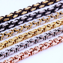 цена на 4/5/8mm Byzantine Box Link Chain Necklace Or Bracelet For Men Stainless Steel Chain Gold Silver Black Fashion Men Jewelry