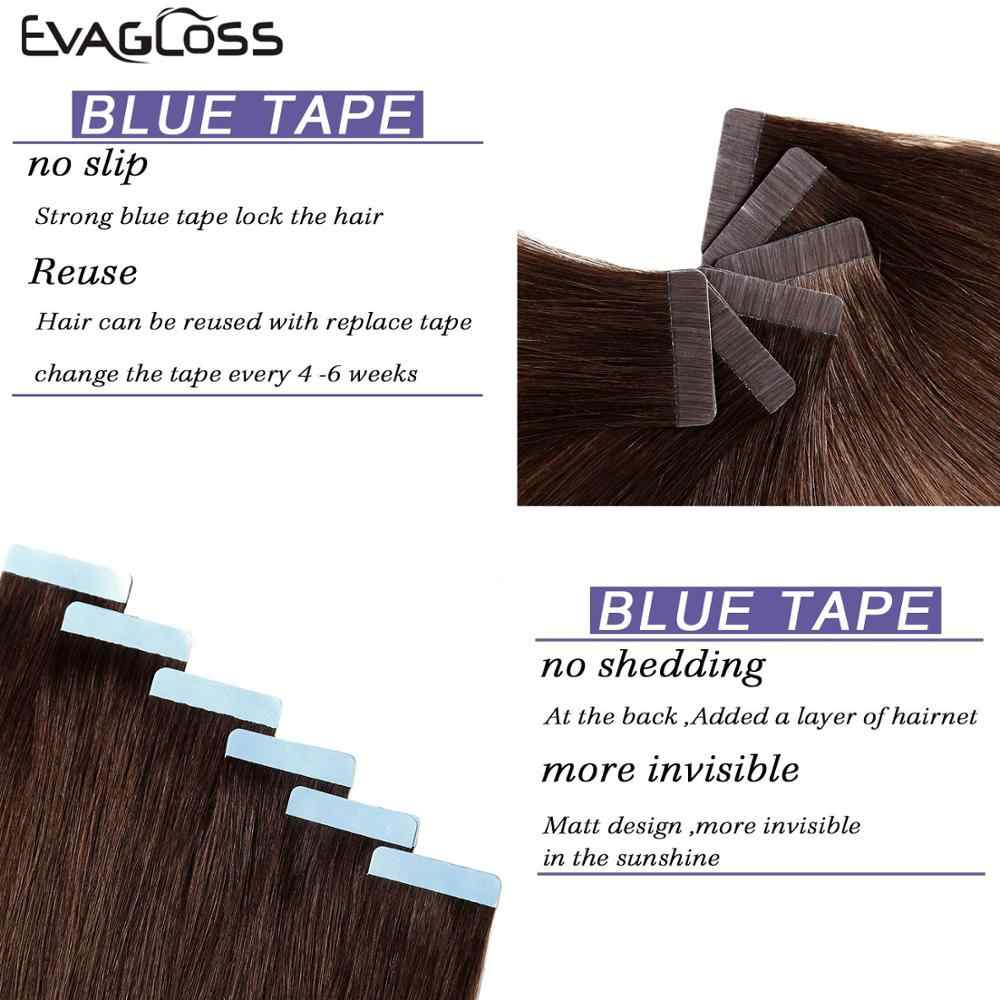 Evagloss Tape In Human Hair Extensions Huid Inslag Machine Remy 20 Pcs Adhesive Dubbelzijdig Tape In Hair Extensions