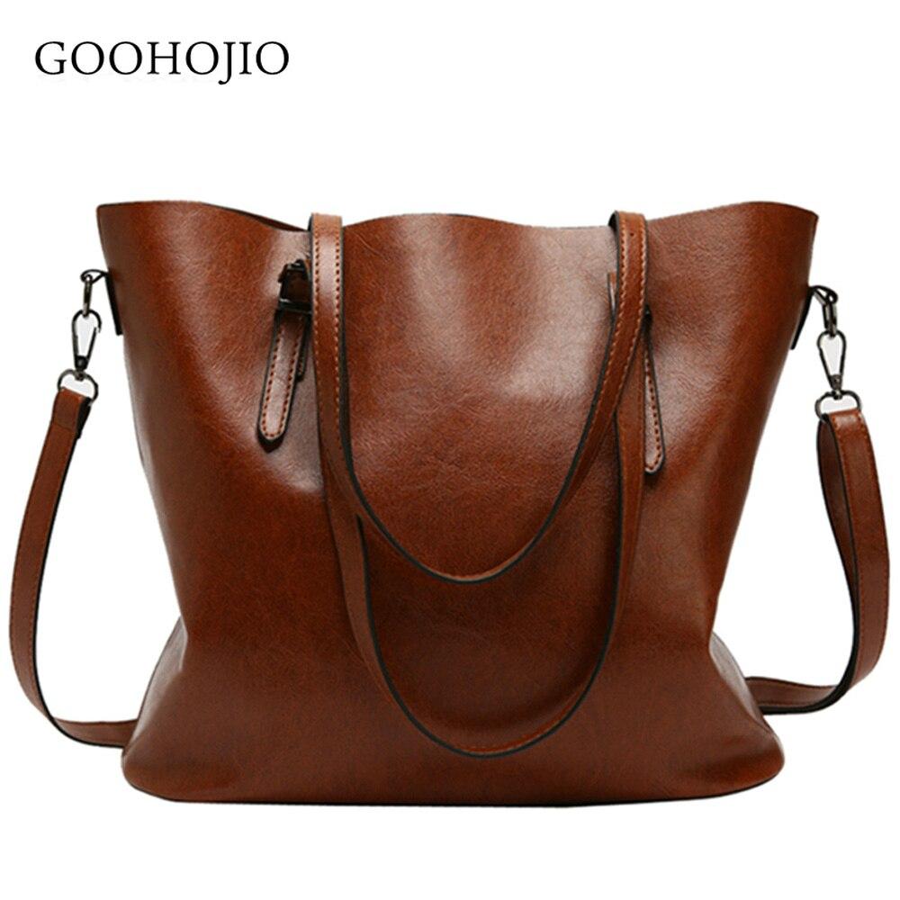 GOOHOJIO Women Leather Handbags Lady Large Casual Tote Bag Female Pu Shoulder Bags Bolsas Femininas Sac A Main Brown Black Red