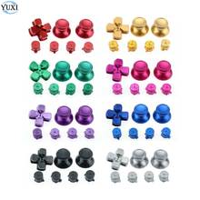 YuXi Metal 3D Analog Joystick Stick Grip Caps + Action D Pad Buttons + ABXY Bullet Buttons for Sony PS4 Gamepad Controller