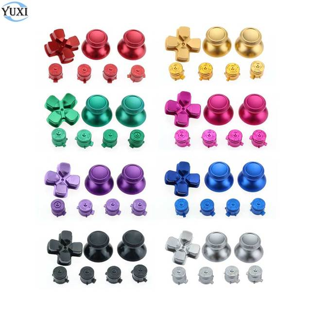 YuXi Metal 3D Joystick Analógico Vara Aperto Caps + Botões de Ação D Pad + Bala ABXY Botões para Sony PS4 Gamepad Controlador