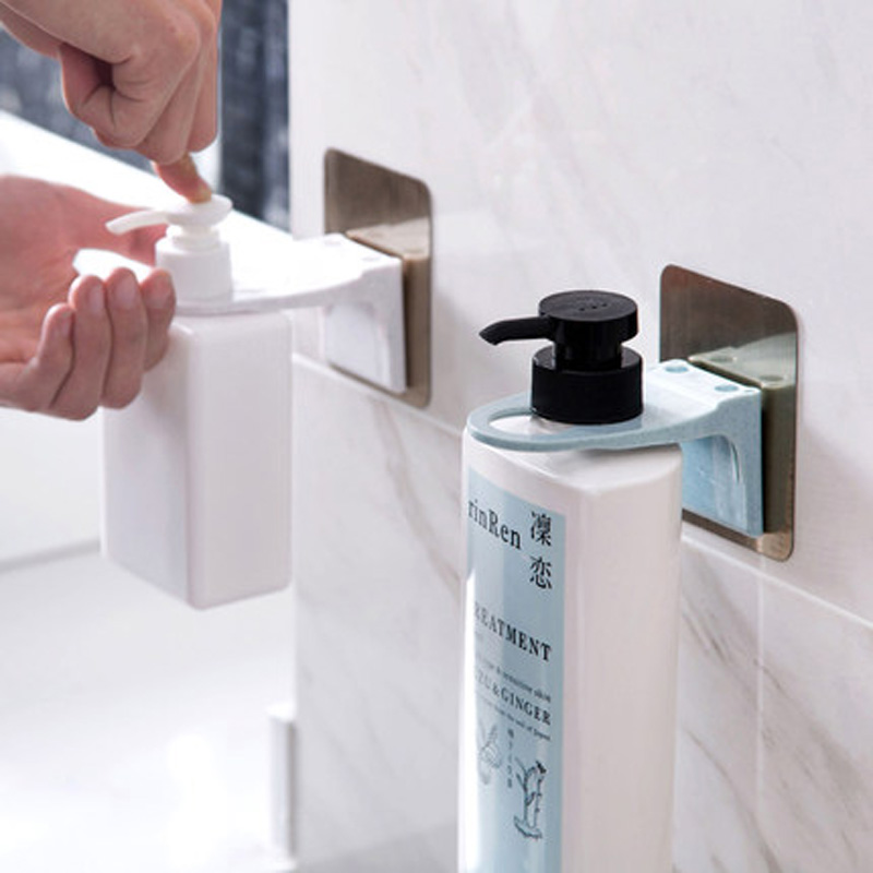 1pc Wall Mounted Shampoo Bottle Shelf Self-Adhesive Liquid Soap shower gel Organizer Hook Holder Shelves Hanger Accessories