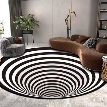 3D Illusion Vortex Bottomless Hole Carpet Blanket Non-Slip Floor Mat Rugs For Living Room Offee Bedroom Restaurant Pad Blanket image