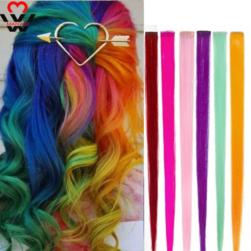 MANWEILong Straight Highlight For Hair Extension Color Clip In Rainbow Hair Strands Pink Hairpiece Synthetic Wig Hair Streak