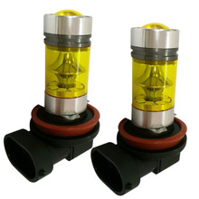 2PCS Car Fog Lamp H8 H11 Led 12V 24V 4300K 2323 20LED 100W Front light Fog Lights Foglight Headlight Bulb Driving Running Light new arrival 2pcs h8 h11 100w 20led hid 2323 fog driving drl light bulbs dr23
