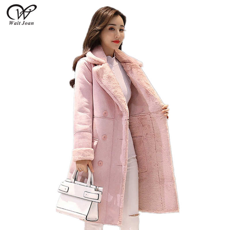 Lamb fur coat women winter long coat female velvet thick suede coat Korean ladies luxury lapel faux fur coat plus size outerwear