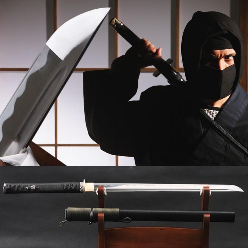Brandon Swords Full Tang Japanese Ninja Sword Battle Ready High Carbon Steel Samurai Sword Cutting Practice Wakizashi Pressent