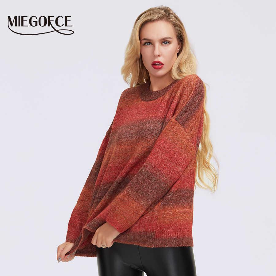 MIEGOFCE 2019 Rollkragen Pullover frauen winter solide polyester faser gestrickte pullover dicke Top lose pullover jumper weibliche