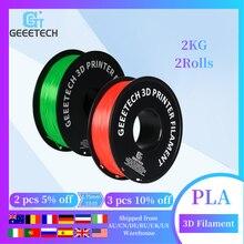 Geeetech Pla Filament 1.75Mm 2Roll/2Kg Voor 3D Printer Met Transparante Muticolor Lichtgevende Groene Hout Kleur