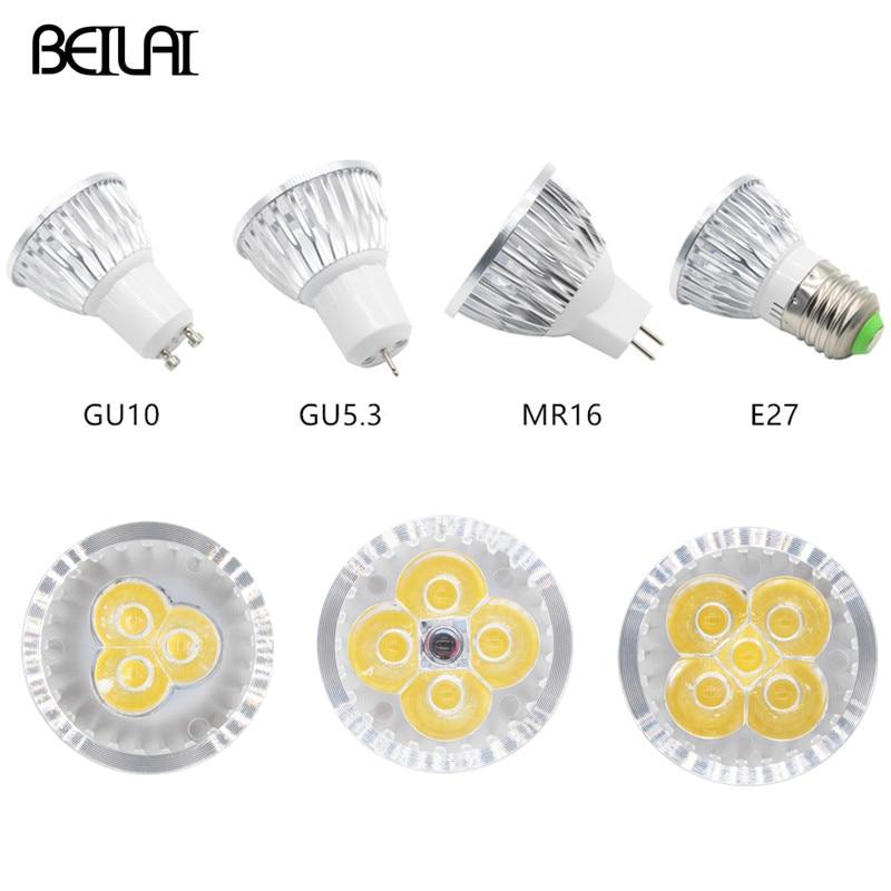 Holofote regulável de led gu10 3w 4w 5w 85-265v, lâmpada led e27 220v lâmpadas de led 110v gu5.3, lâmpadas de luz led mr16 dc 12v de iluminação