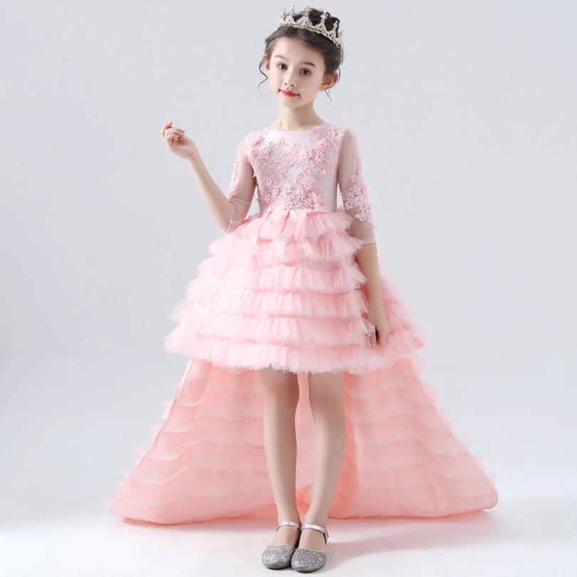 Luxury Girl Princess Tailing Evening Dress Mesh Stitching Applique Children Wedding Gown Catwalk party Dress for girls L37