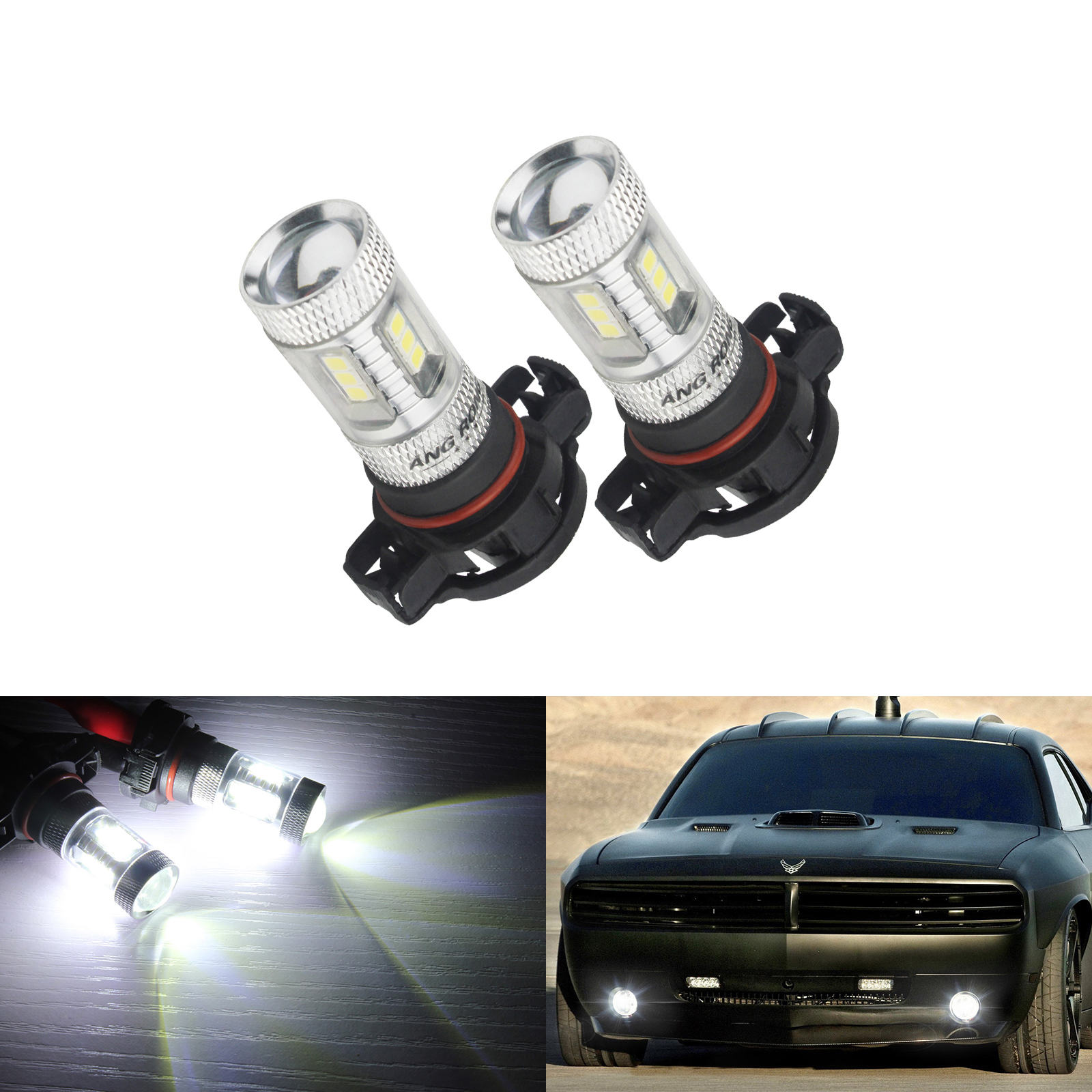 ANGRONG 2x  H16 PS19W 5202 9009 Bulbs LED Projector SideLight Fog Daytime Light