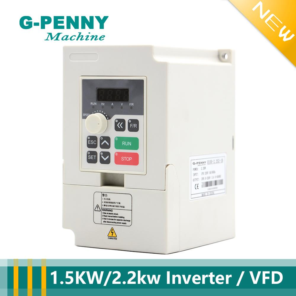 220V 1.5KW VFD Variable Frequency Drive Inverter Speed Controller Converter New