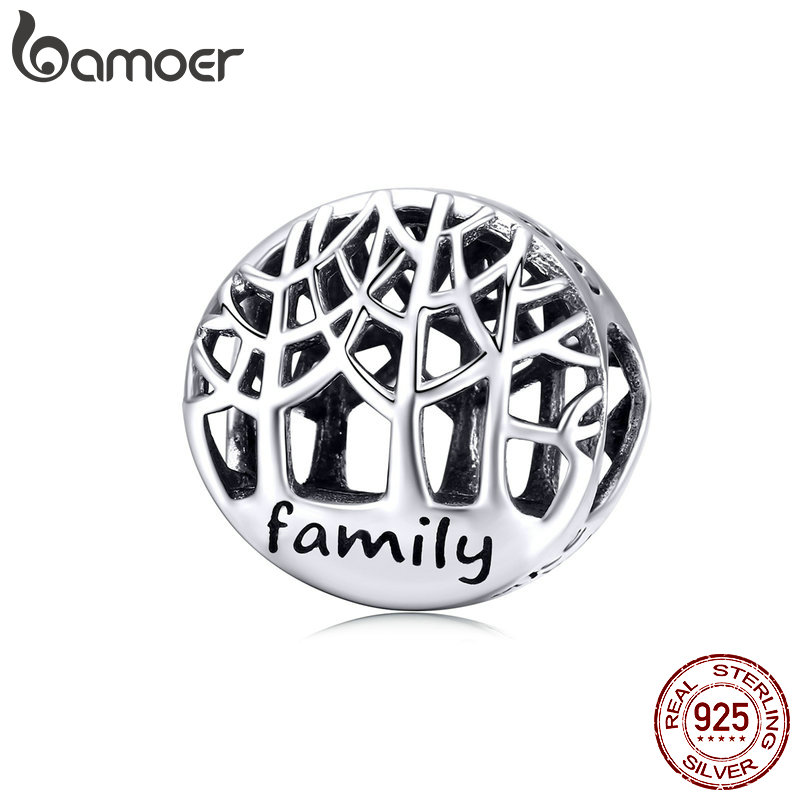 BAMOER Tree Of Life Round Beads 925 Sterling Silver Family Trees Charms For European Gifts Luxury Brand DIY Jewelry SCC1144