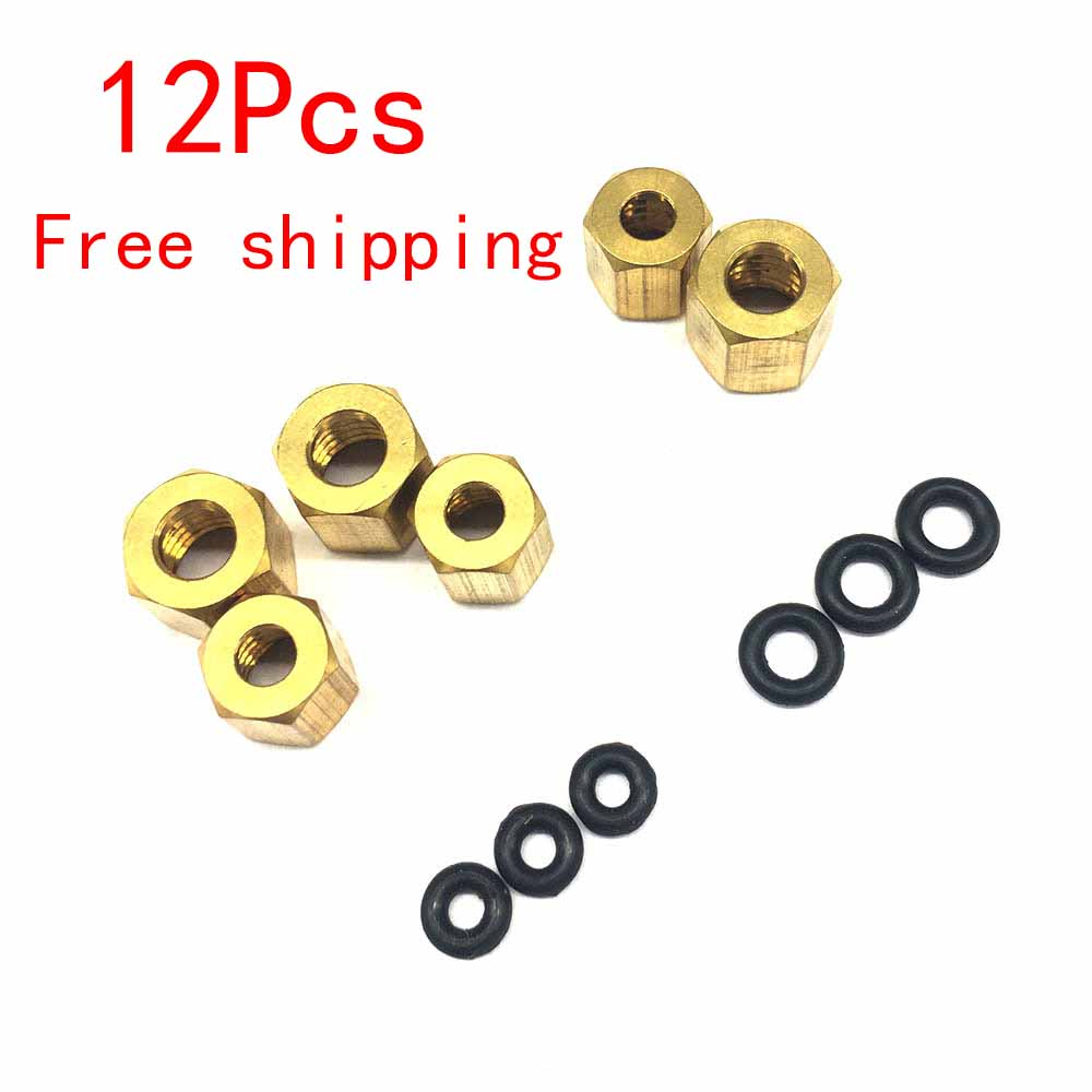 12 Pcs Small/Large Copper Nut O Ring Sscrew 2*3mm And 4*3mm For Epson UV Damper 1390 DX7 DX4 DX5 Ink Tube