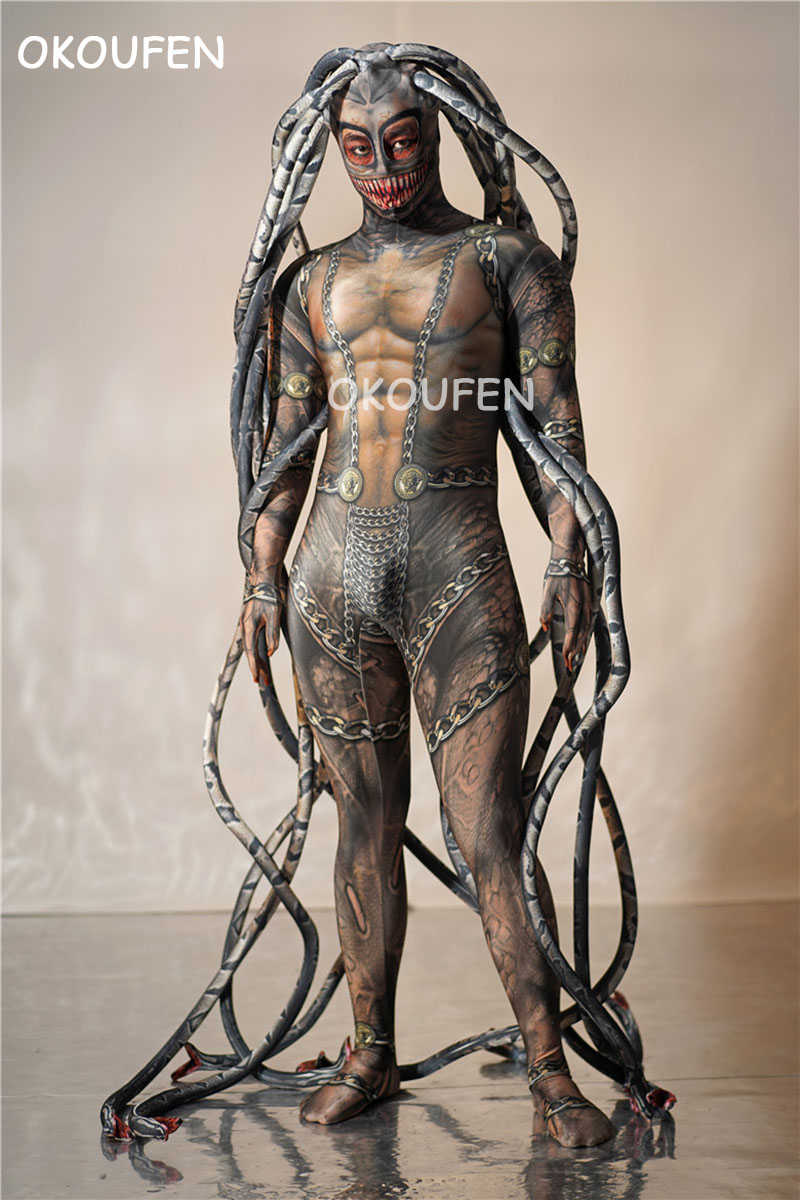 Personality Men And Women Elastic Romper Nightclub Bar Dance Team Party Fake Meat Print Stretch Long Siamese Octopus Costumes