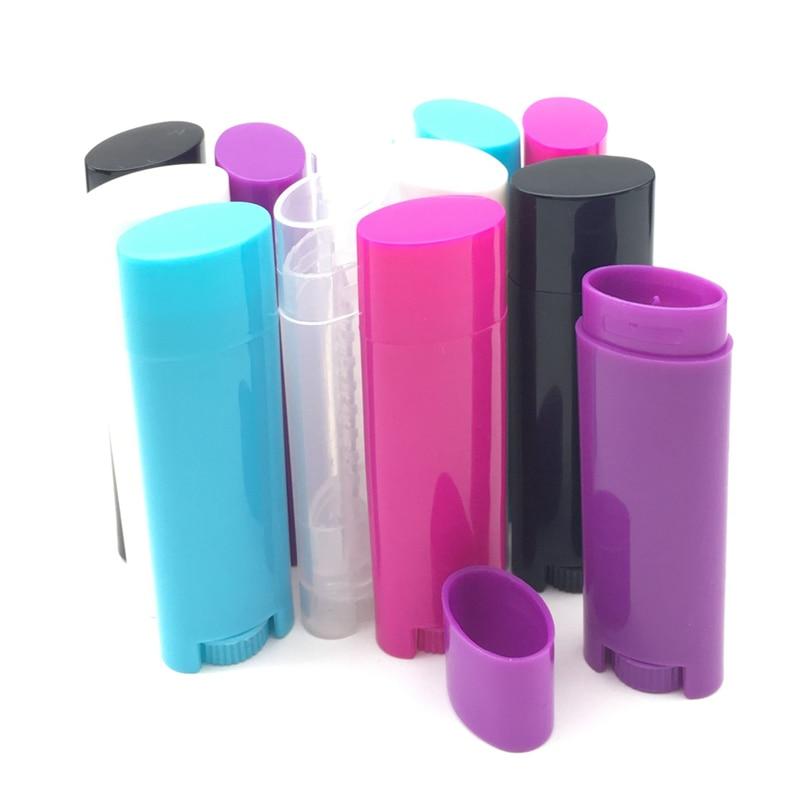 100 pièces vide 4.5g/0.15 oz multi couleur Tubes baume à lèvres Tubes rouge à lèvres conteneurs bricolage cosmétique Tube ovale plat bouteille