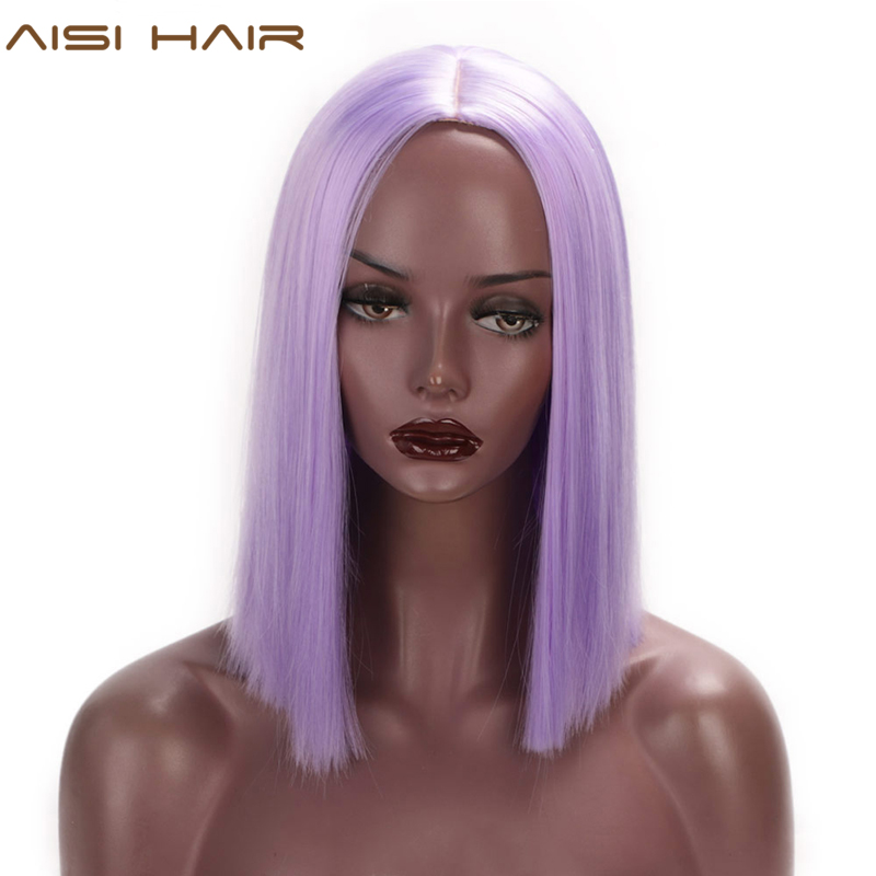 AISI HAIR Purple Bob Wig Straight Hair 12 Inch Synthetic Wigs For Black Women Pink Orange Colorful Cosplay Wig Heat Resistant
