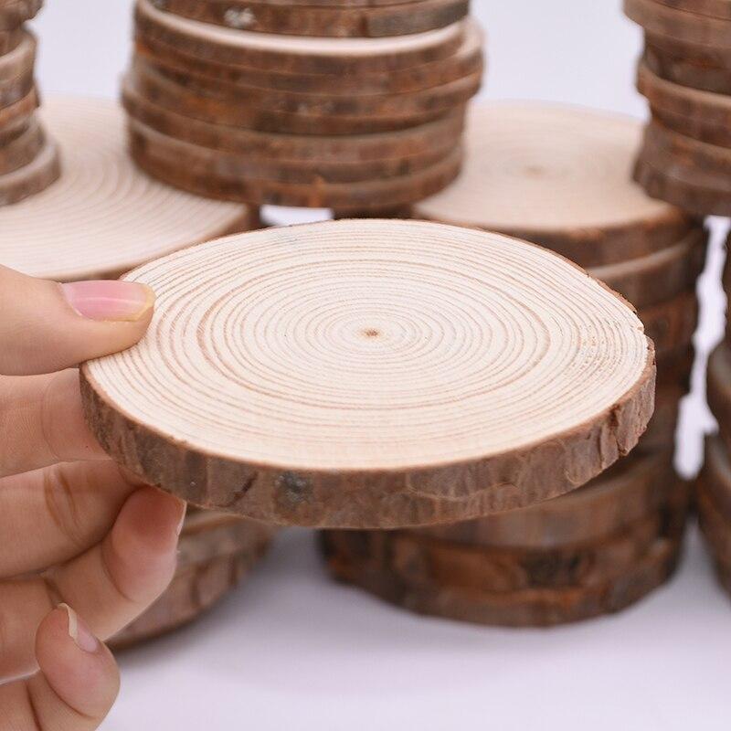 Необработанные кусочки натурального дерева 1 шт. 3,5-4 дюйма Набор для изготовления дерева круги для рождественских украшений свадьба день ро...