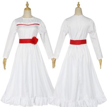 La sposa di Chucky Annabelle Vestito Il Prestigio Bambola Cosplay Costume Delle Ragazze Delle Donne Male Halloween Horror Spaventoso Fancy Abito Bianco 1