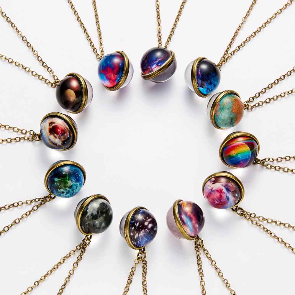 Unique Luminous Universe Galaxy Planet Glass Necklace Glow In The Dark Cosmic Ball Pendant Necklace for Unisex Vintage Jewelry